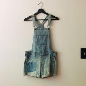 Hollister | Blue Distressed Shortall Overalls